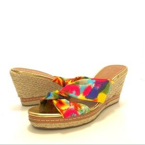 Etienne Aigner Krista Watercolors Wedge Sandals 7